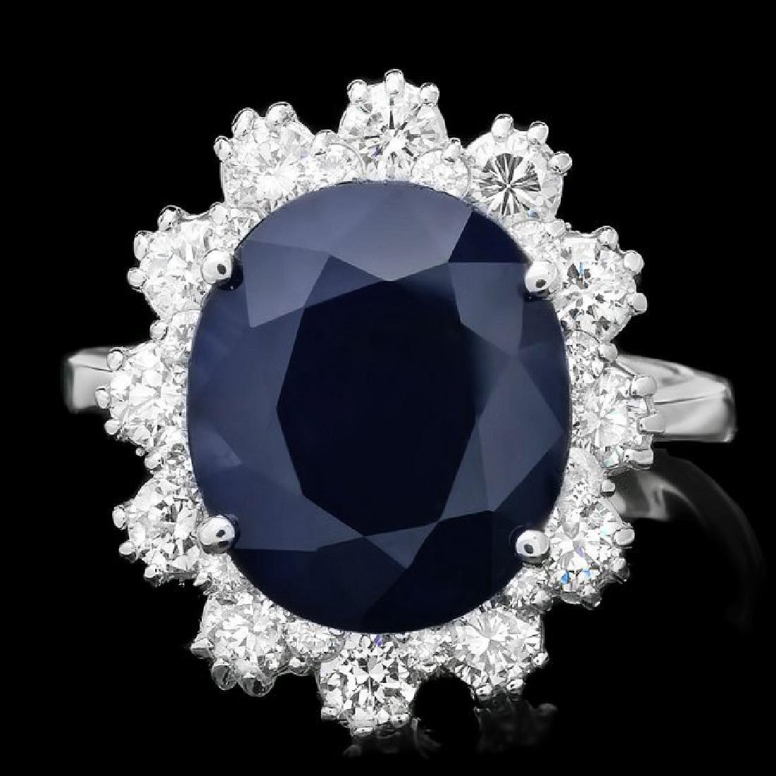 14k Gold 7.40ct Sapphire 1.18ct Diamond Ring