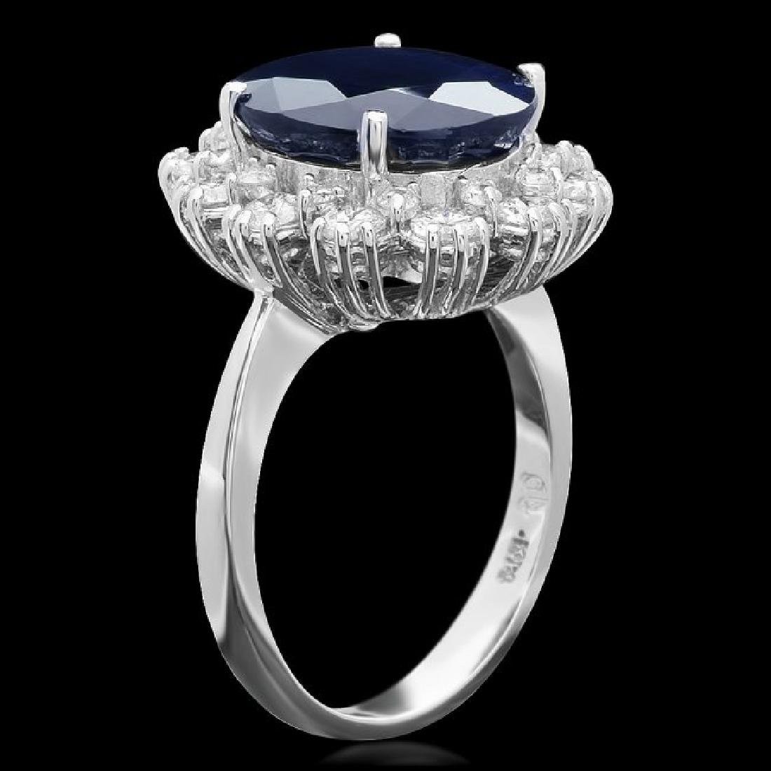 14k Gold 7.40ct Sapphire 1.18ct Diamond Ring - 2