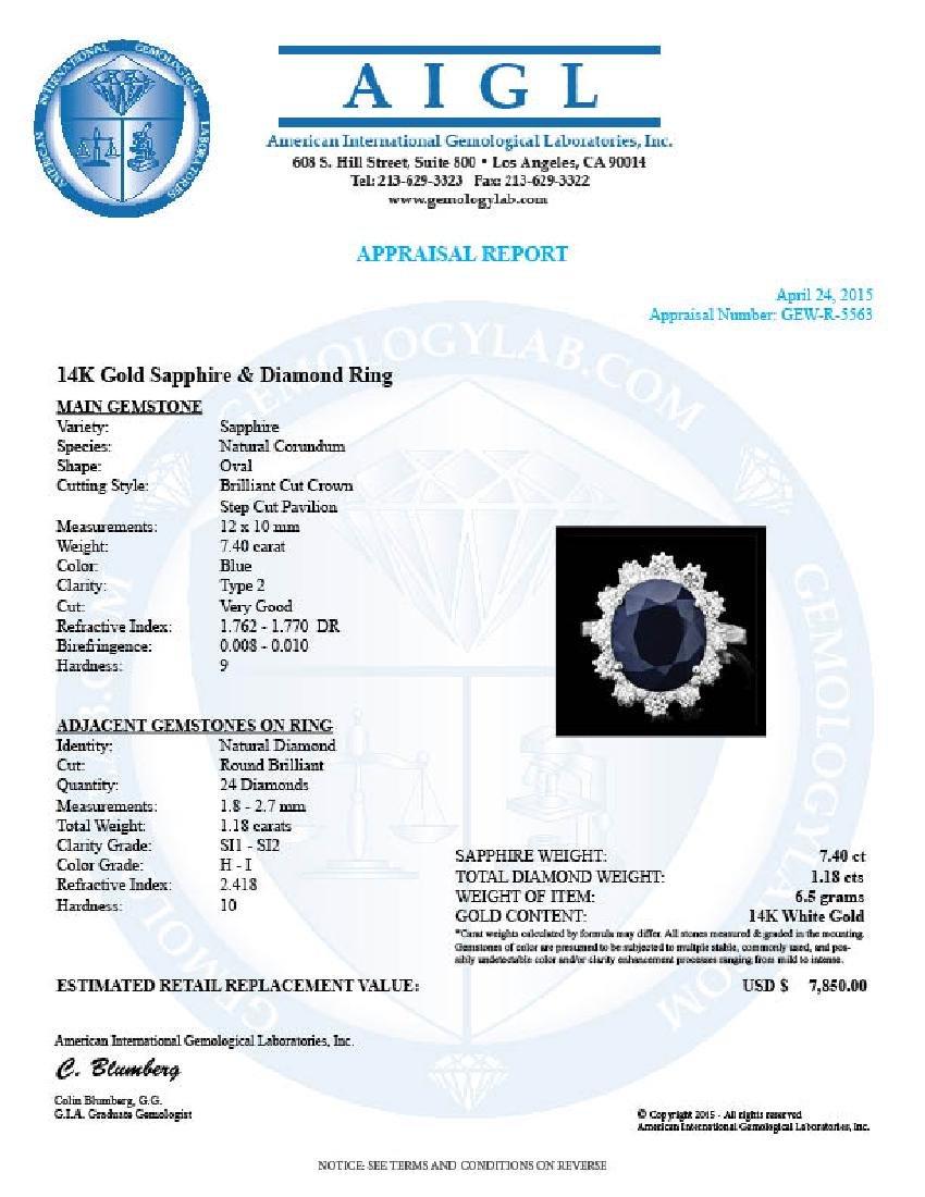 14k Gold 7.40ct Sapphire 1.18ct Diamond Ring - 4