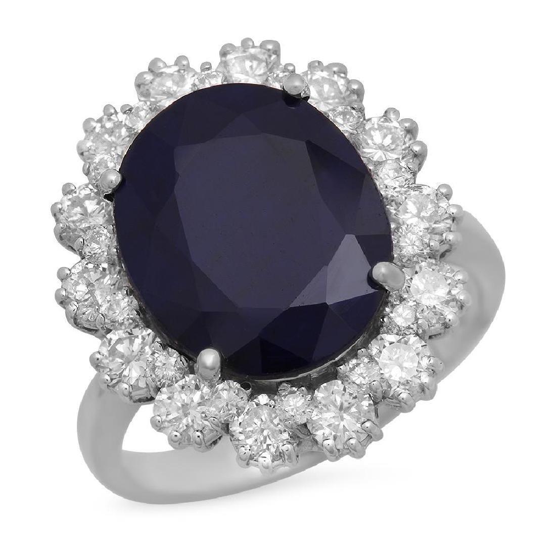 14K Gold 6.27ct Sapphire 1.63ct Diamond Ring