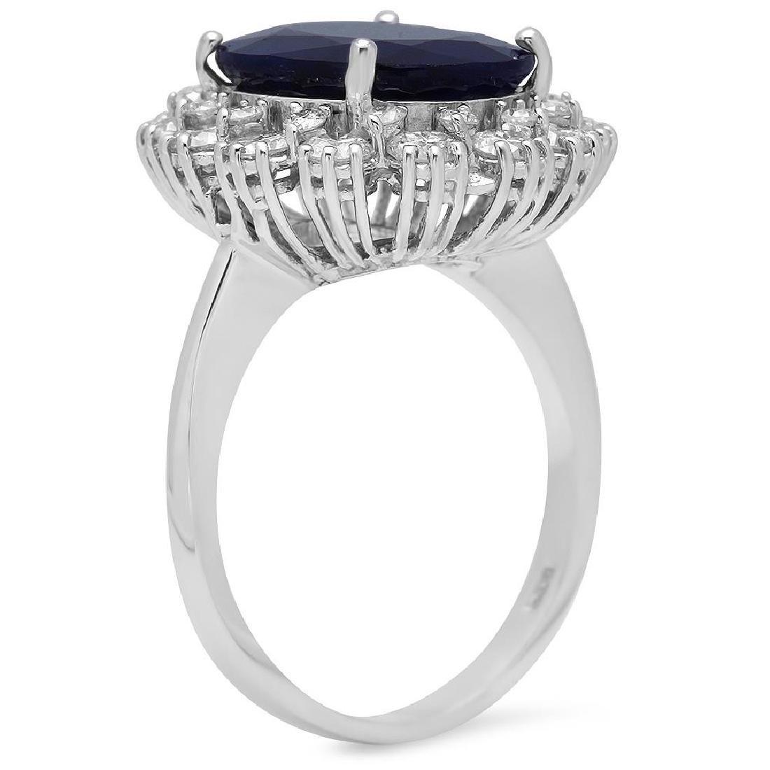 14K Gold 6.27ct Sapphire 1.63ct Diamond Ring - 2