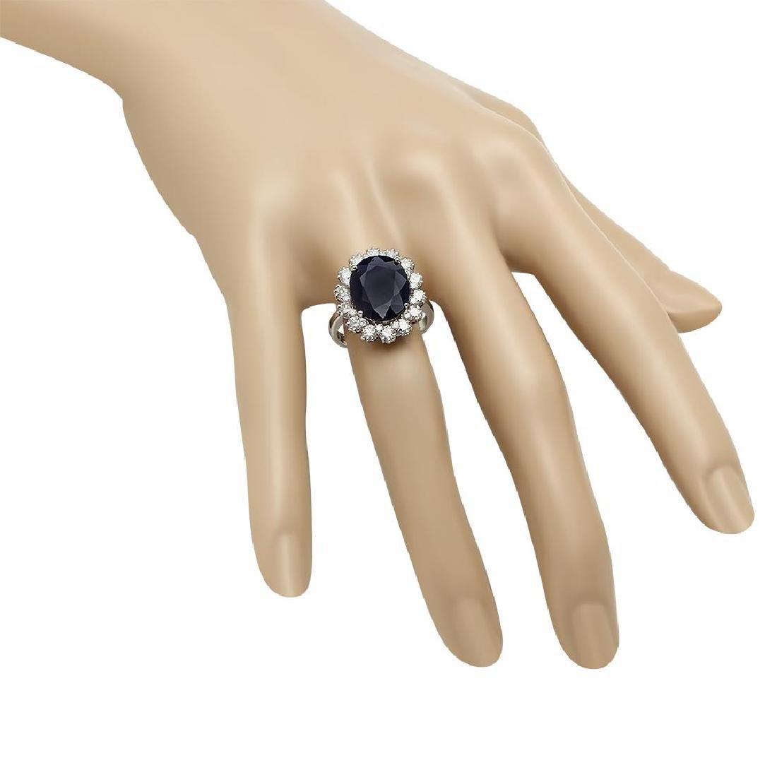 14K Gold 6.27ct Sapphire 1.63ct Diamond Ring - 3