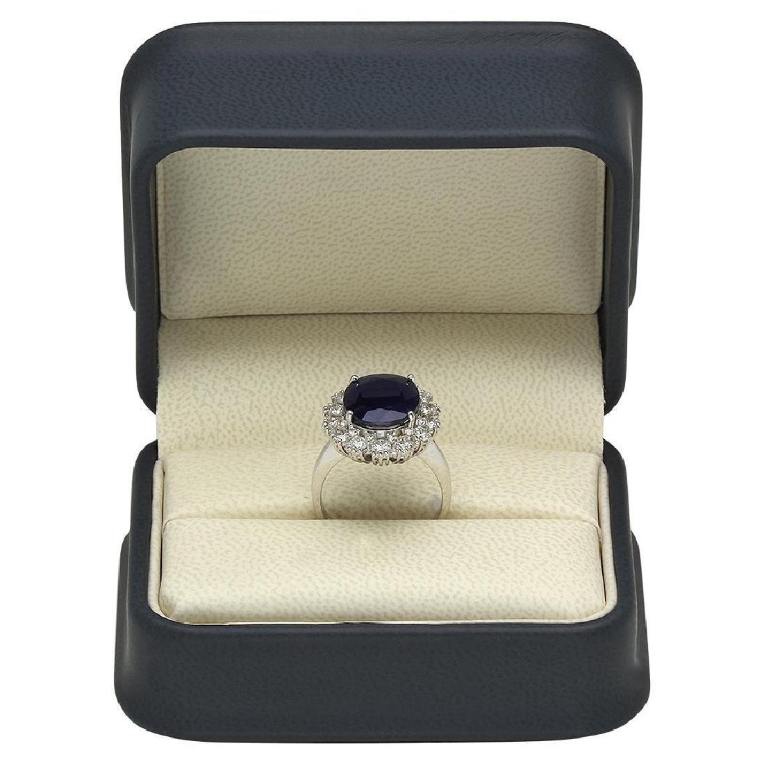 14K Gold 6.27ct Sapphire 1.63ct Diamond Ring - 4