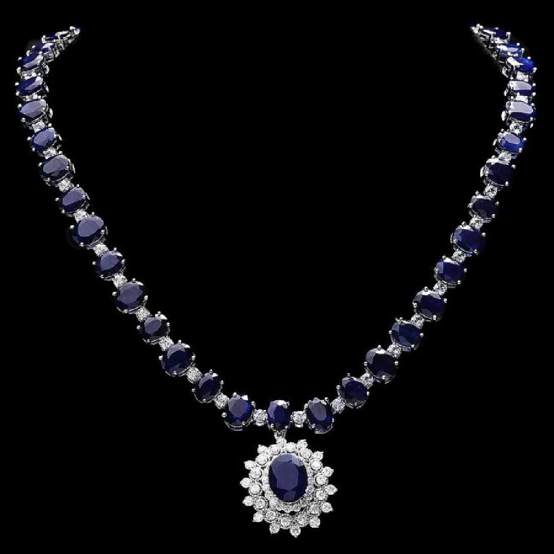 14k Gold 86ct Sapphire 2.50ct Diamond Necklace