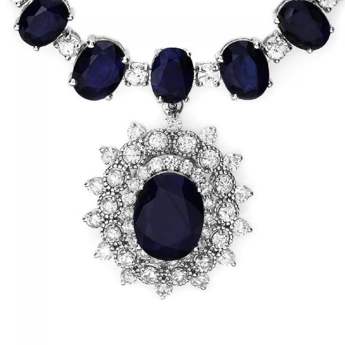 14k Gold 86ct Sapphire 2.50ct Diamond Necklace - 2