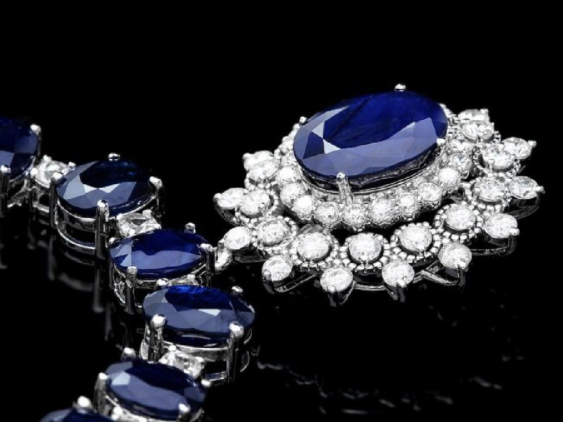 14k Gold 86ct Sapphire 2.50ct Diamond Necklace - 3