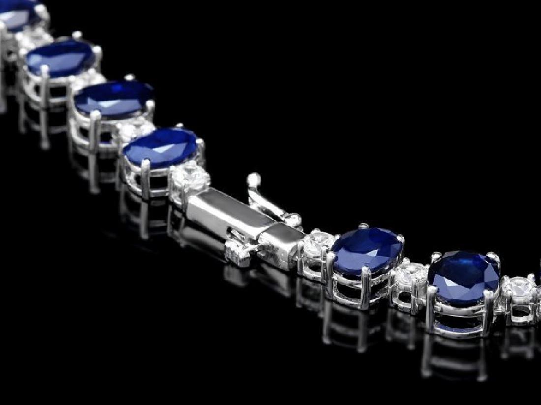 14k Gold 86ct Sapphire 2.50ct Diamond Necklace - 4