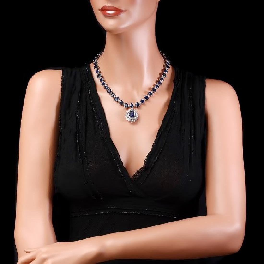 14k Gold 86ct Sapphire 2.50ct Diamond Necklace - 5