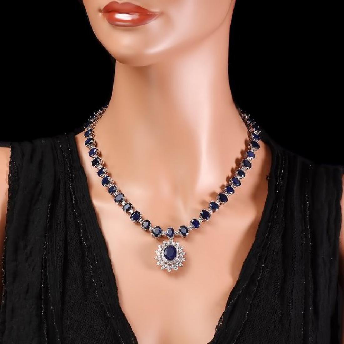 14k Gold 86ct Sapphire 2.50ct Diamond Necklace - 6