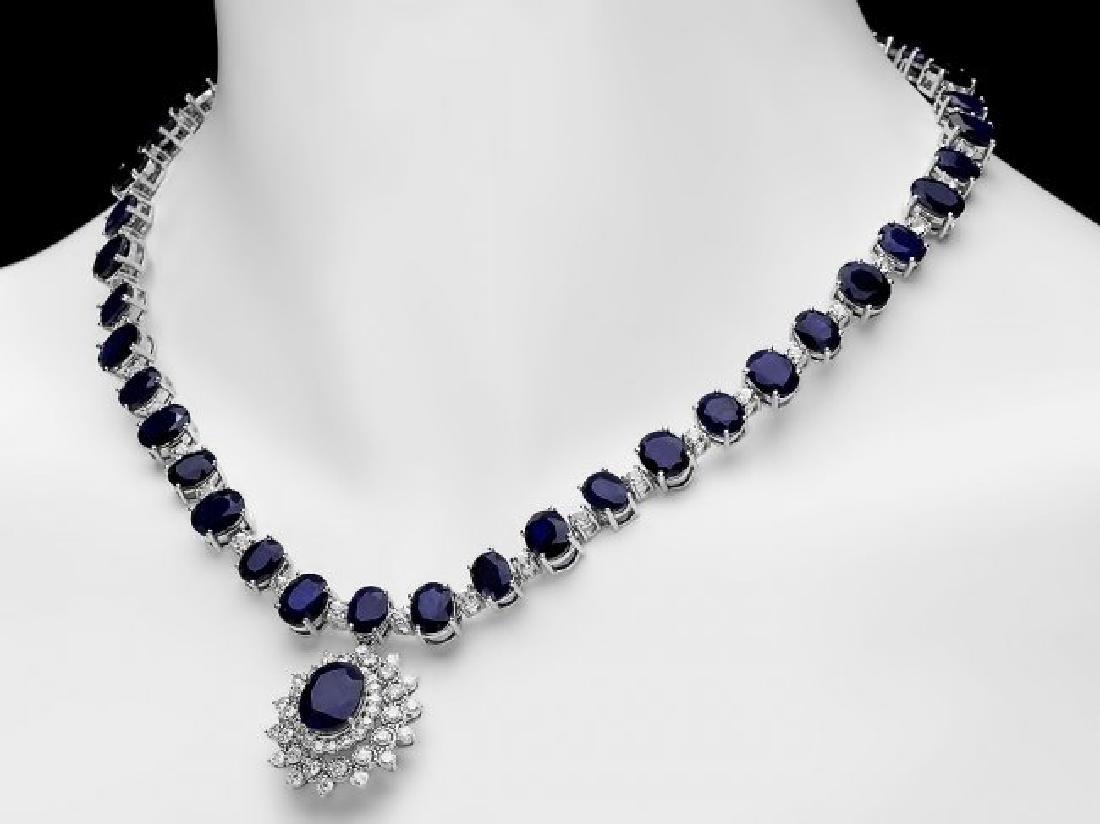 14k Gold 86ct Sapphire 2.50ct Diamond Necklace - 7