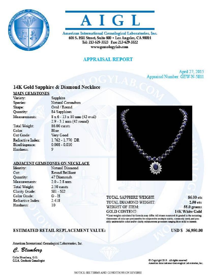 14k Gold 86ct Sapphire 2.50ct Diamond Necklace - 8