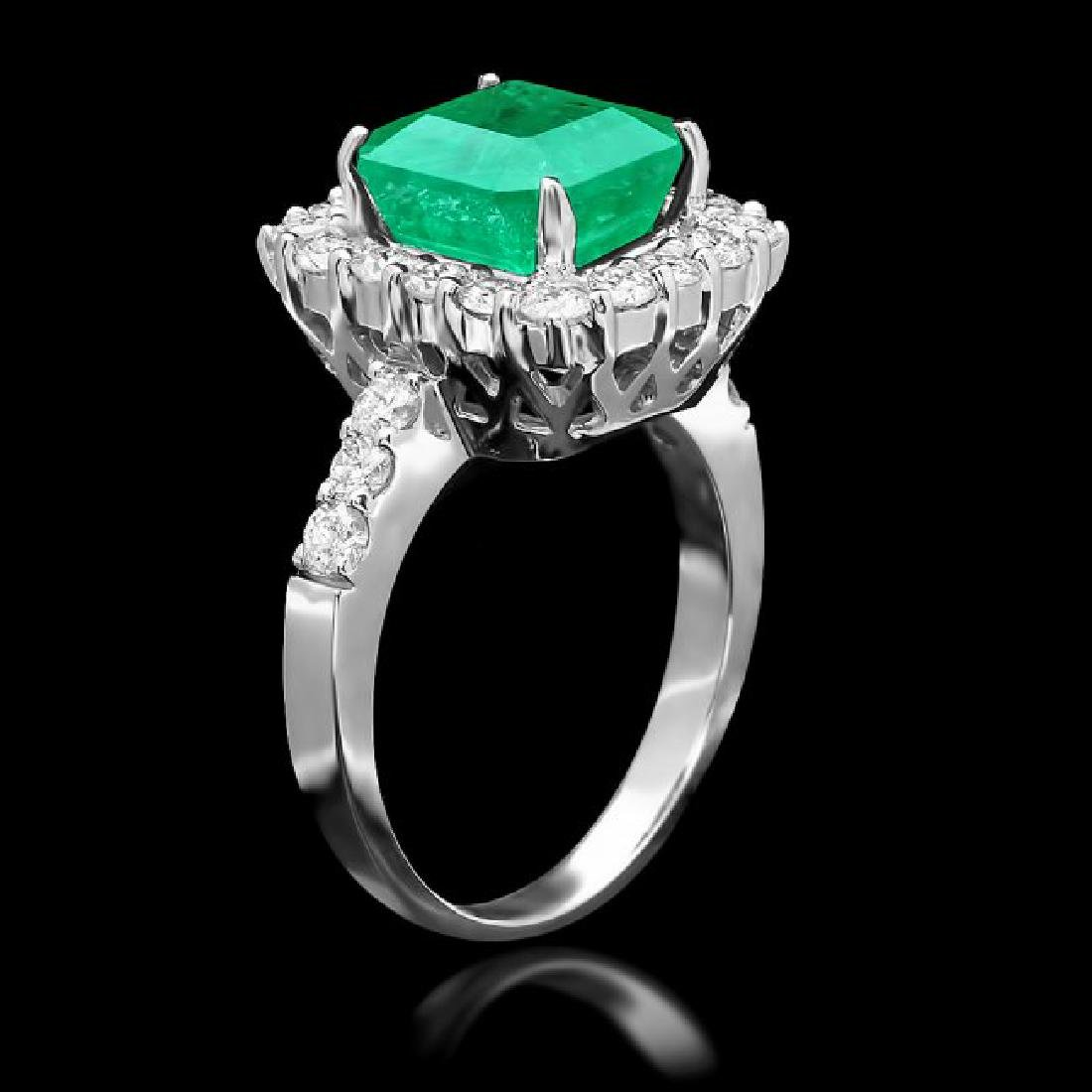 14k White Gold 3.70ct Emerald 1.10ct Diamond Ring