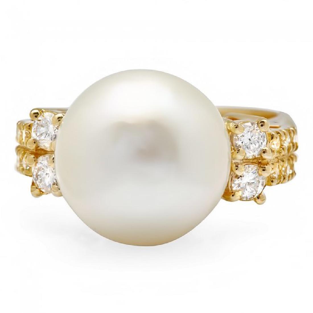14k Yellow Gold 13mm Pearl 0.60ct Diamond Ring - 2