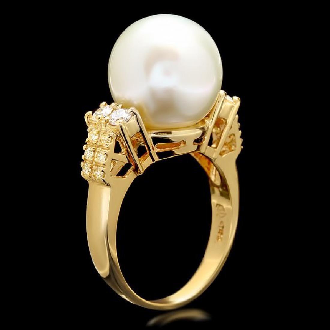 14k Yellow Gold 13mm Pearl 0.60ct Diamond Ring - 3