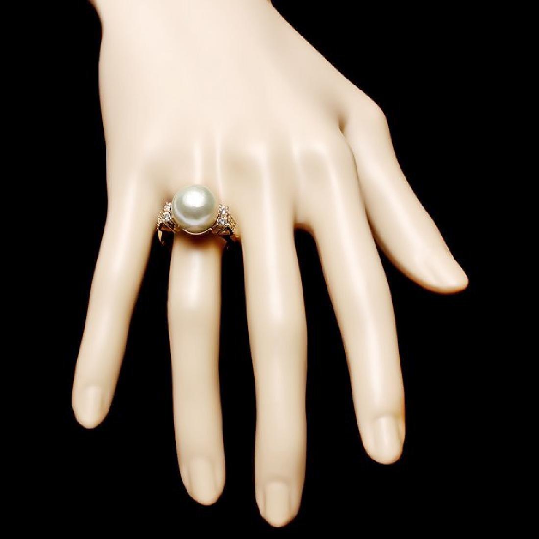 14k Yellow Gold 13mm Pearl 0.60ct Diamond Ring - 4