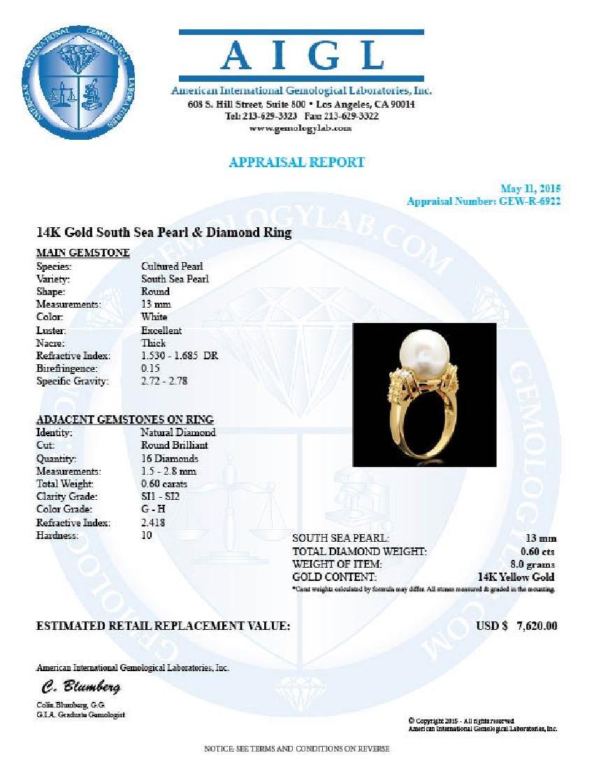 14k Yellow Gold 13mm Pearl 0.60ct Diamond Ring - 5