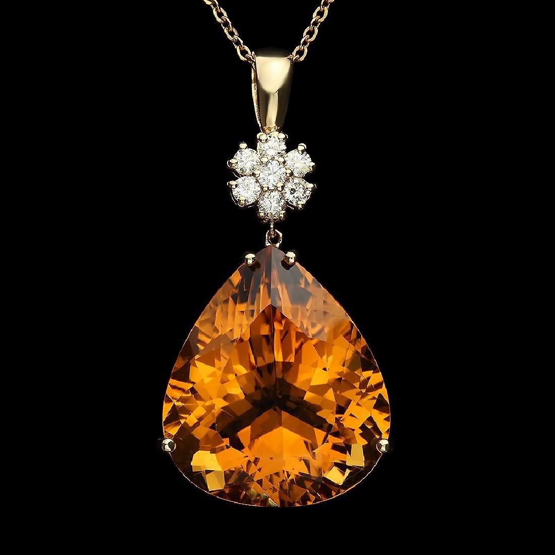 14K Gold 41.00ct Citrine Diamond Pendant