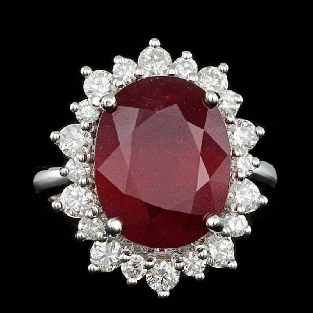 14k White Gold 11.00ct Ruby 1.15ct Diamond Ring
