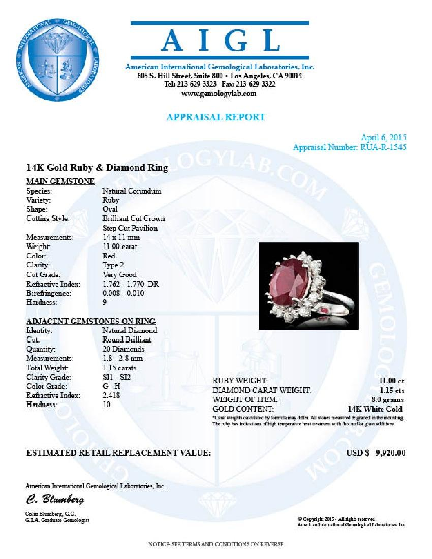 14k White Gold 11.00ct Ruby 1.15ct Diamond Ring - 5