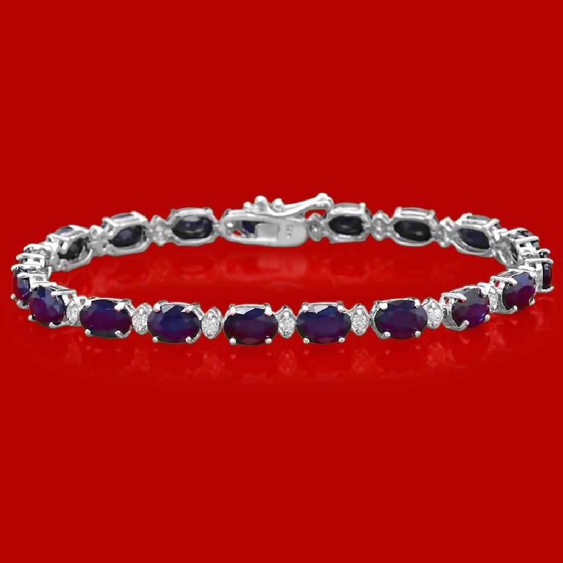 14k Gold 16.86ct Sapphire 0.63ct Diamond Bracelet