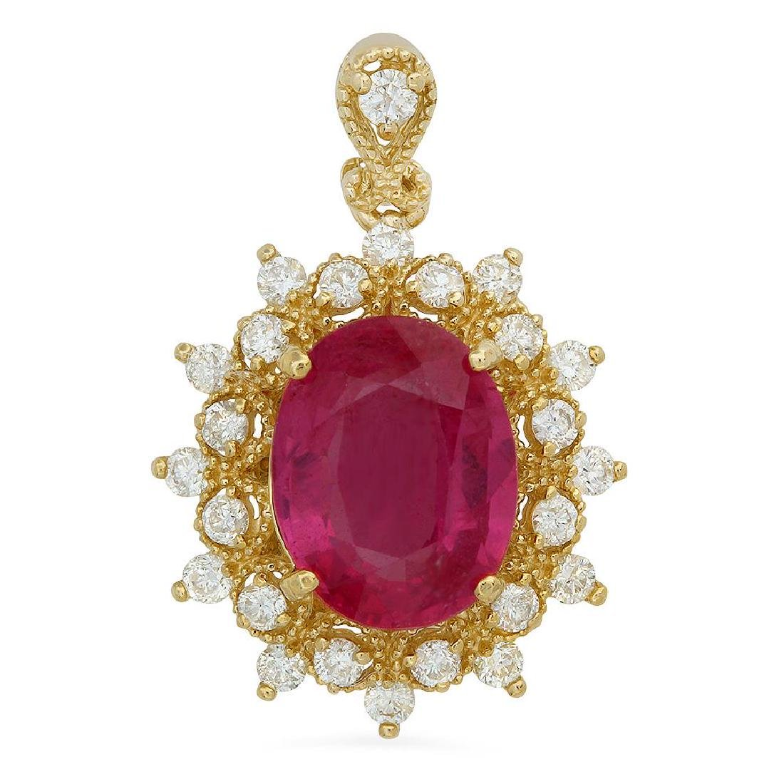 14K Gold 4.98ct Ruby 0.74ct Diamond Pendant