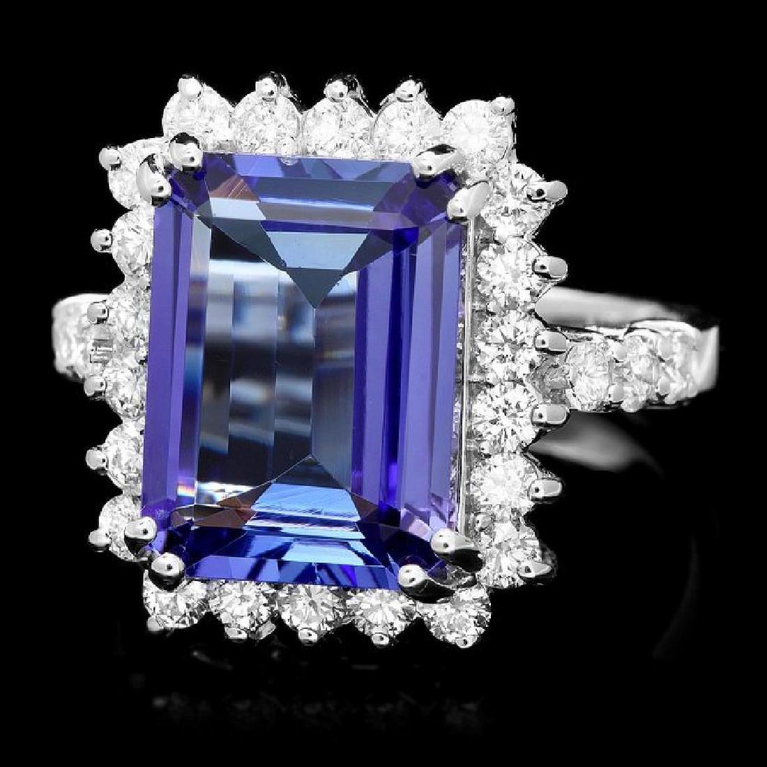 18k Gold 6.50ct Tanzanite 1.15ct Diamond Ring