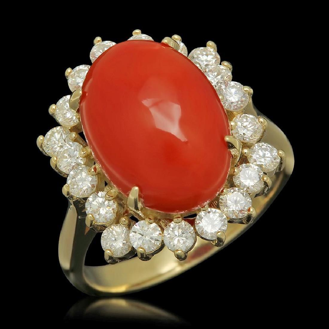 14K Gold 5.50ct Coral 1.06ct Diamond Ring