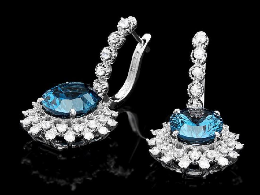 14k Gold 11.50ct Topaz 2.00ct Diamond Earrings - 2