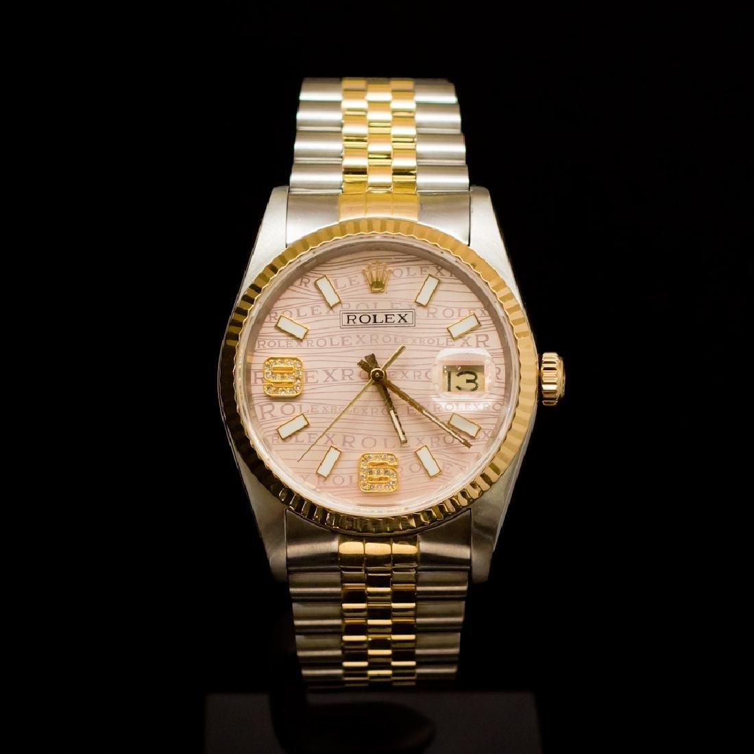 Rolex Two-Tone Datejust 36mm Custom Pink Dial, Diamonds