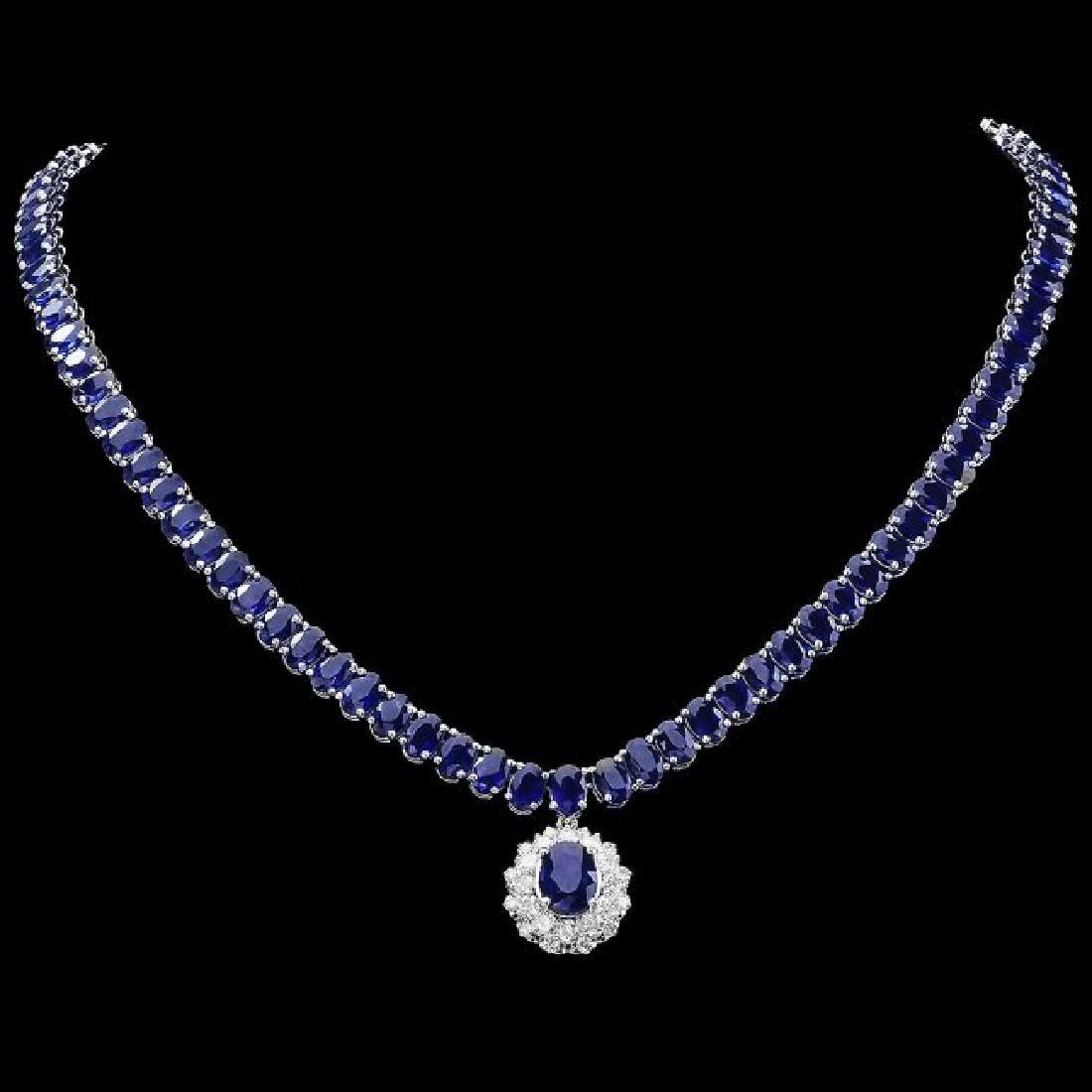14k Gold 52.5ct Sapphire 1.50ct Diamond Necklace