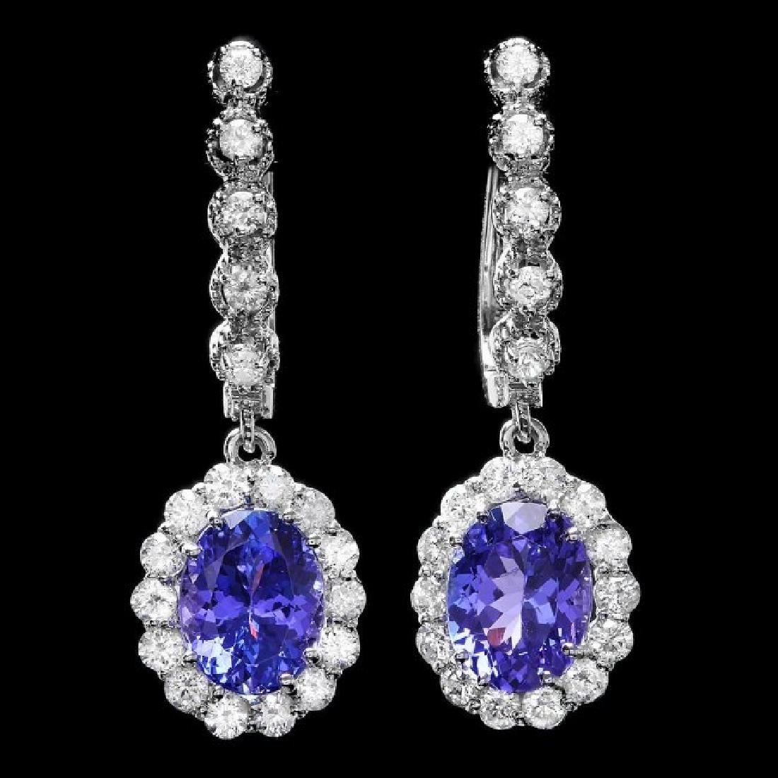 14k Gold 4ct Tanzanite 1.35ct Diamond Earrings