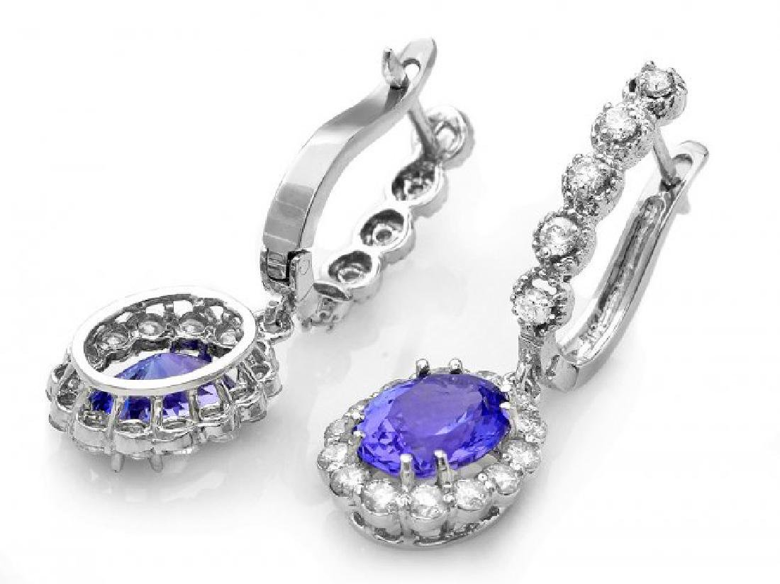 14k Gold 4ct Tanzanite 1.35ct Diamond Earrings - 2