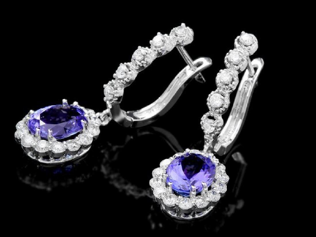 14k Gold 4ct Tanzanite 1.35ct Diamond Earrings - 3