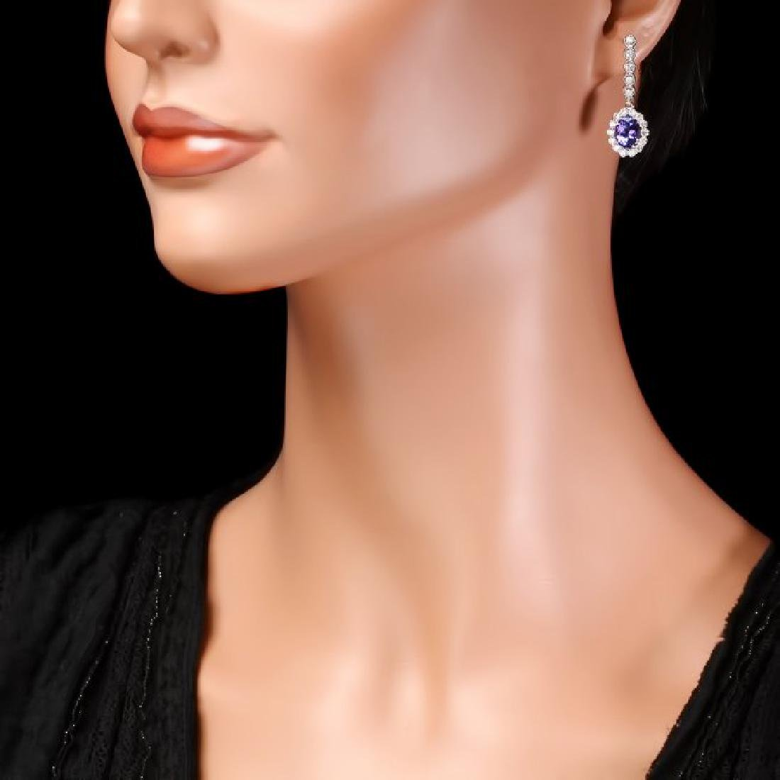 14k Gold 4ct Tanzanite 1.35ct Diamond Earrings - 4