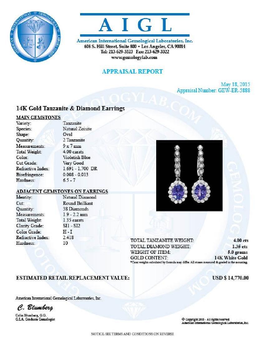 14k Gold 4ct Tanzanite 1.35ct Diamond Earrings - 5