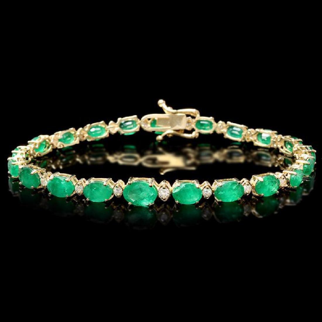 14k Gold 11ct Emerald .60ct Diamond Bracelet