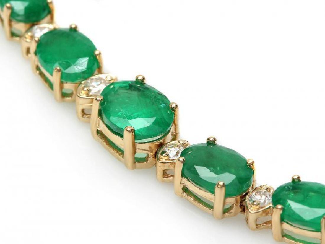 14k Gold 11ct Emerald .60ct Diamond Bracelet - 2