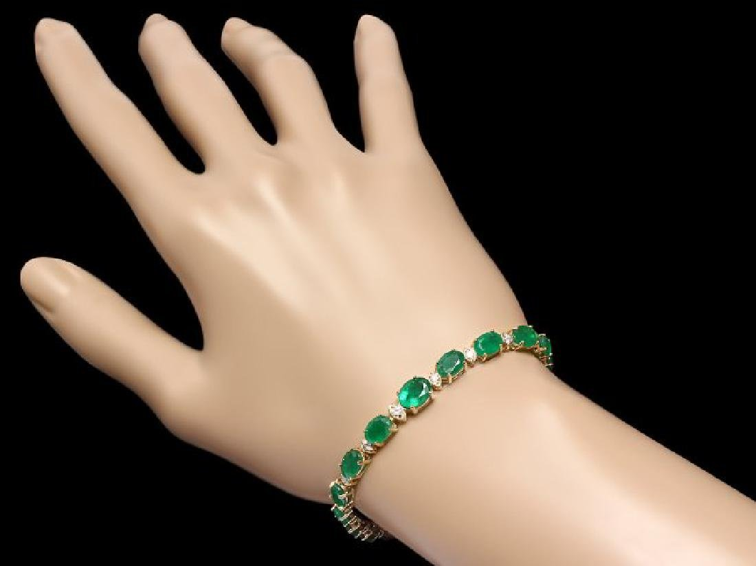 14k Gold 11ct Emerald .60ct Diamond Bracelet - 4
