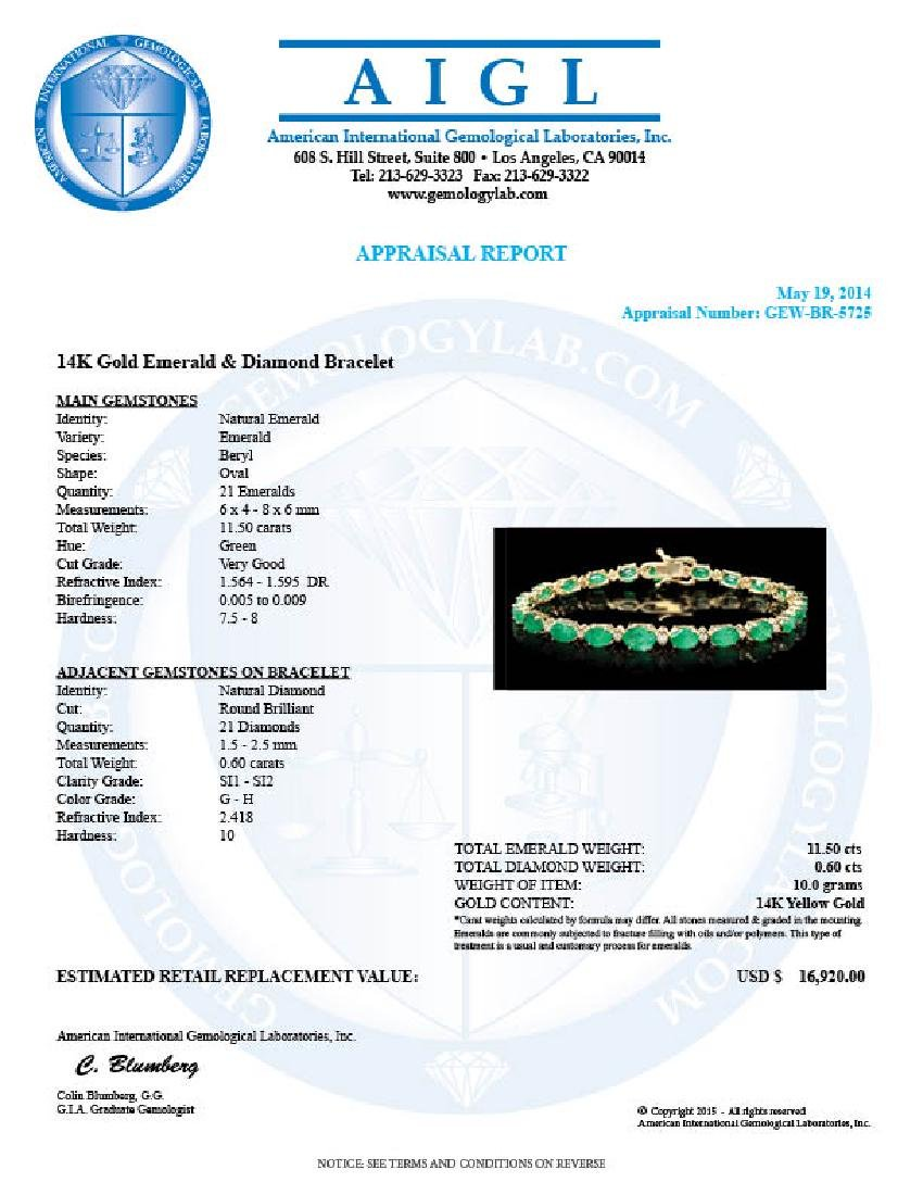 14k Gold 11ct Emerald .60ct Diamond Bracelet - 6