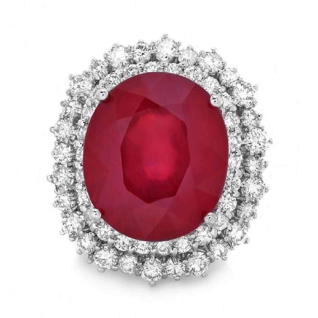 14k White Gold 18.00ct Ruby 2.00ct Diamond Ring - 2