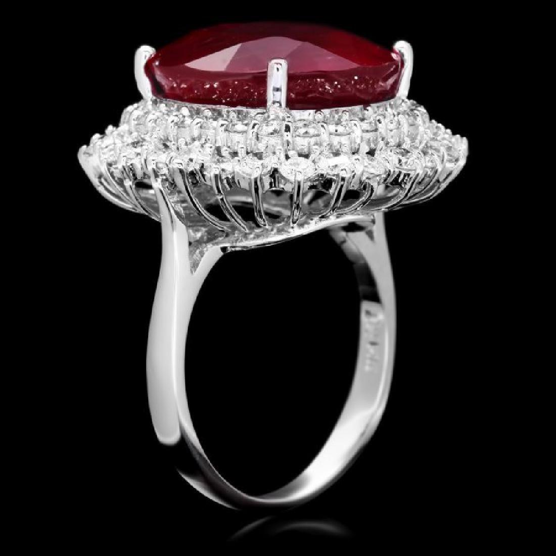 14k White Gold 18.00ct Ruby 2.00ct Diamond Ring - 3