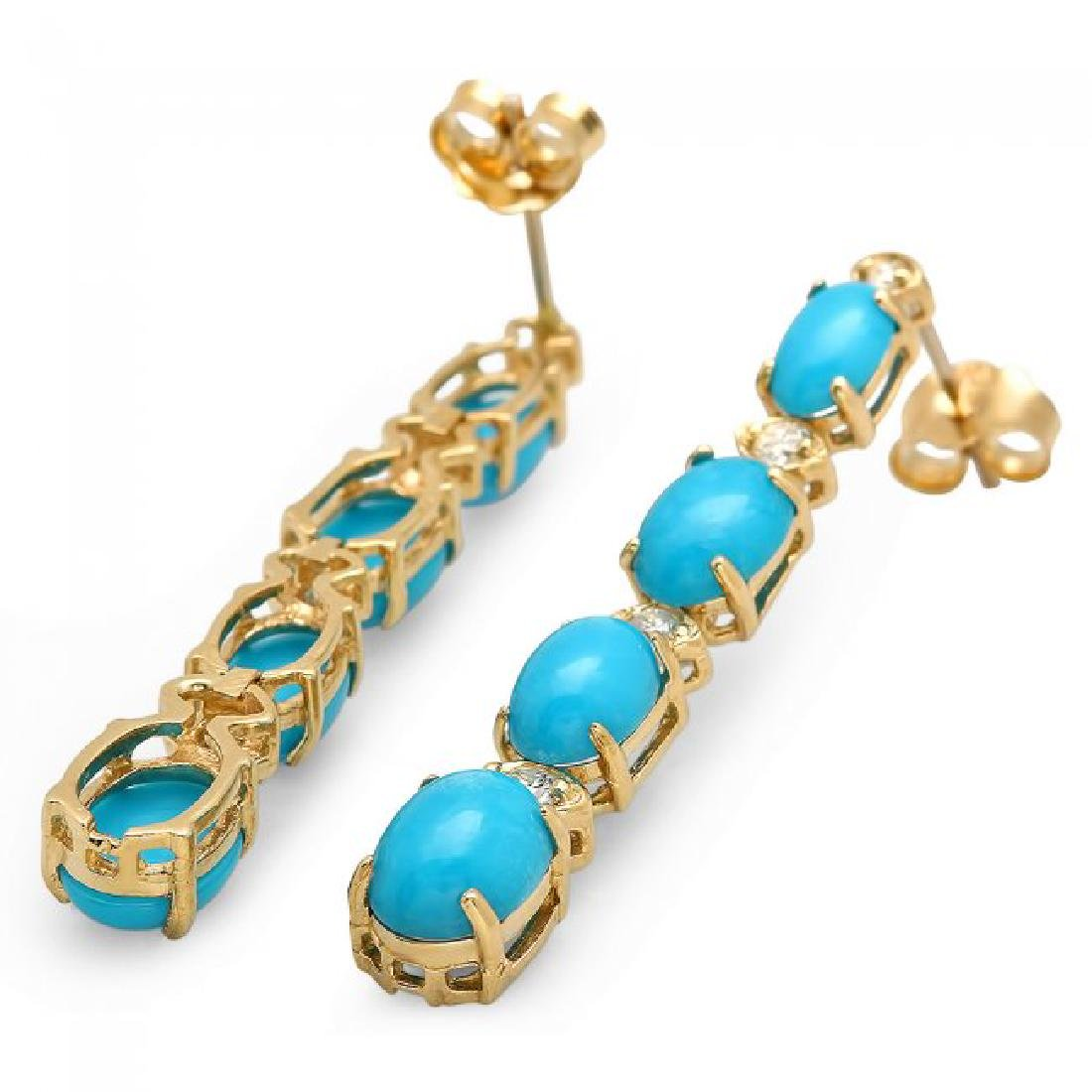 14k Gold 5.50ct Turquoise 0.35ct Diamond Earrings - 2