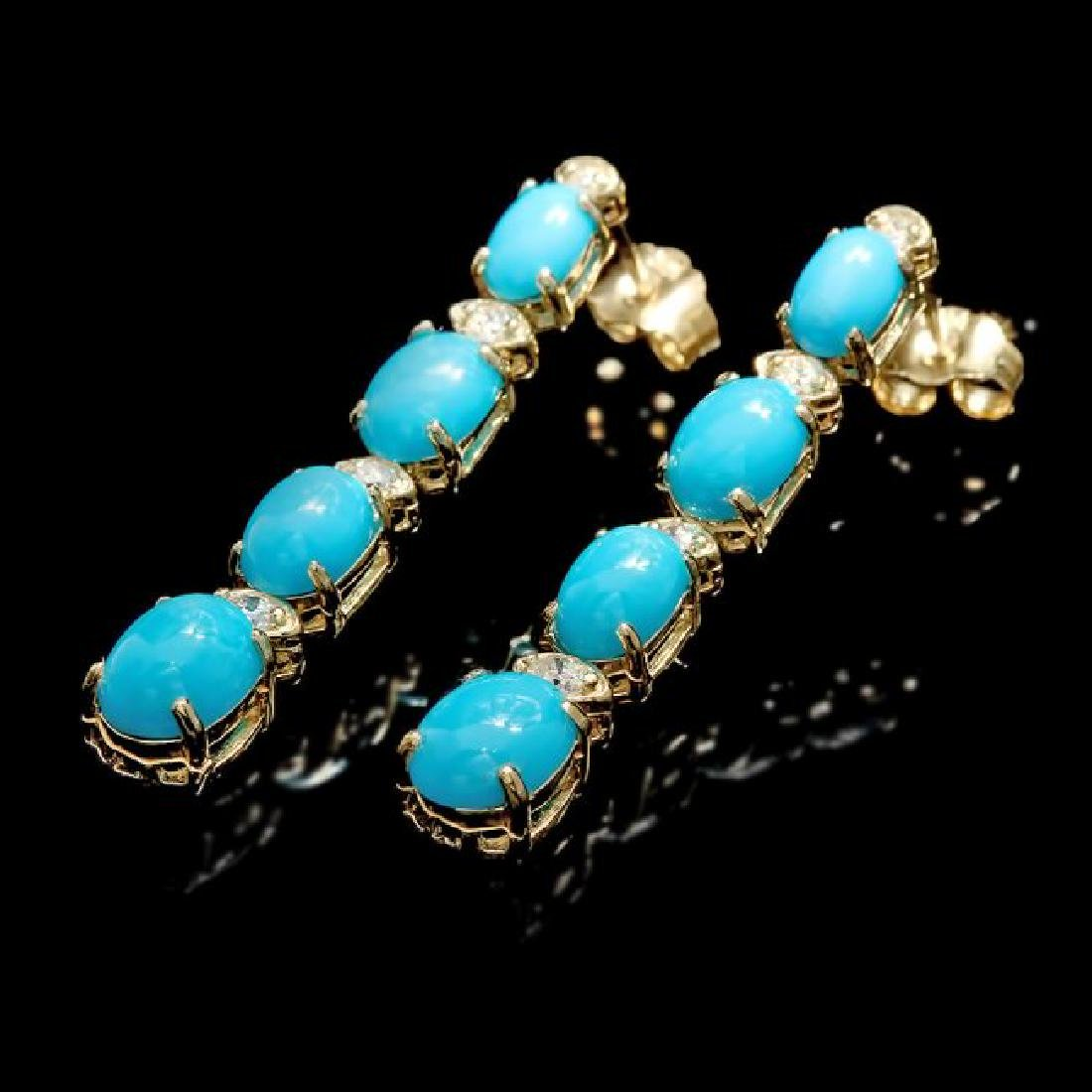 14k Gold 5.50ct Turquoise 0.35ct Diamond Earrings - 3