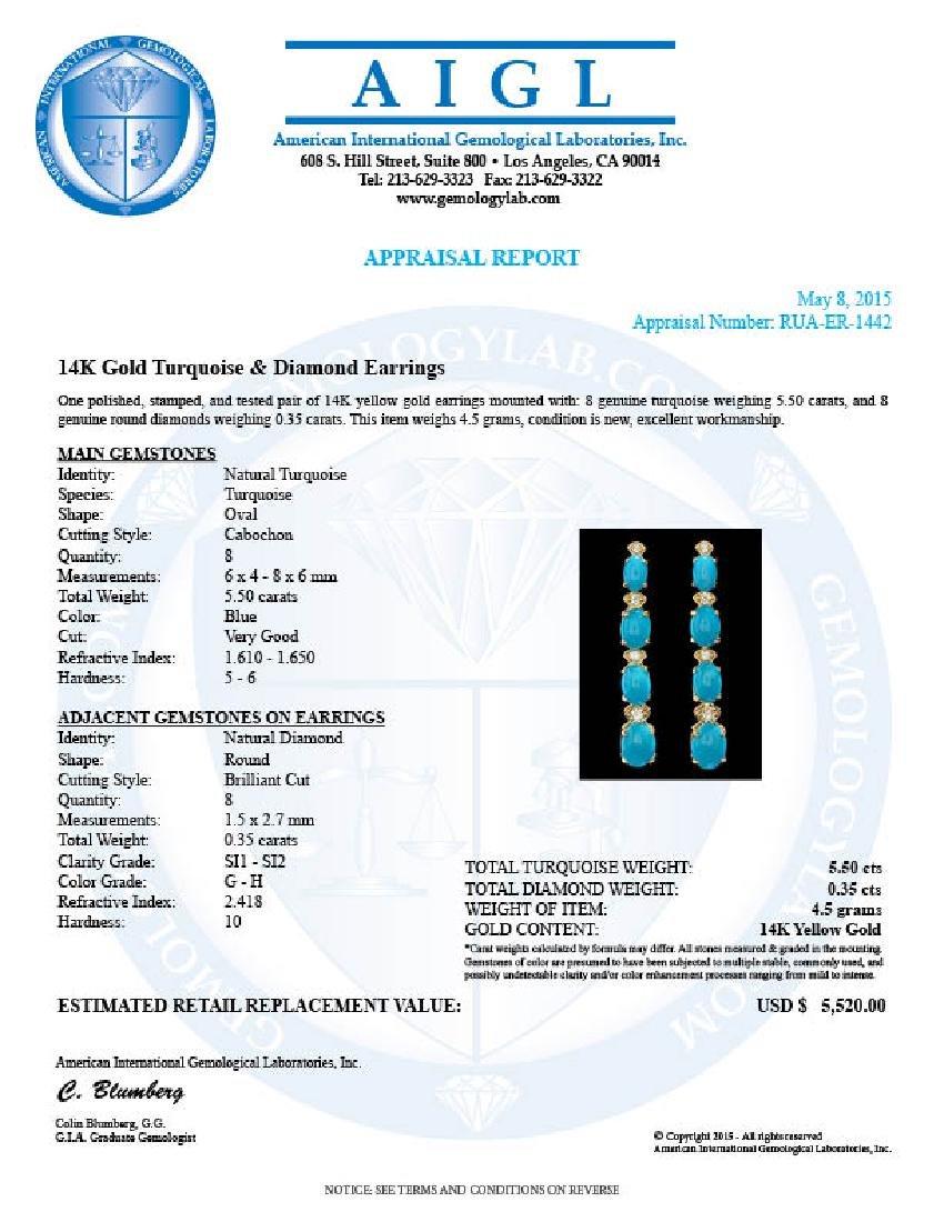 14k Gold 5.50ct Turquoise 0.35ct Diamond Earrings - 4