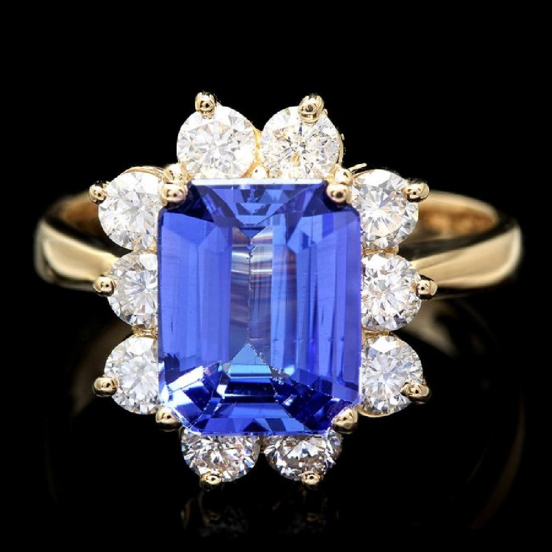 14k Gold 3.00ct Tanzanite 1.20ct Diamond Ring