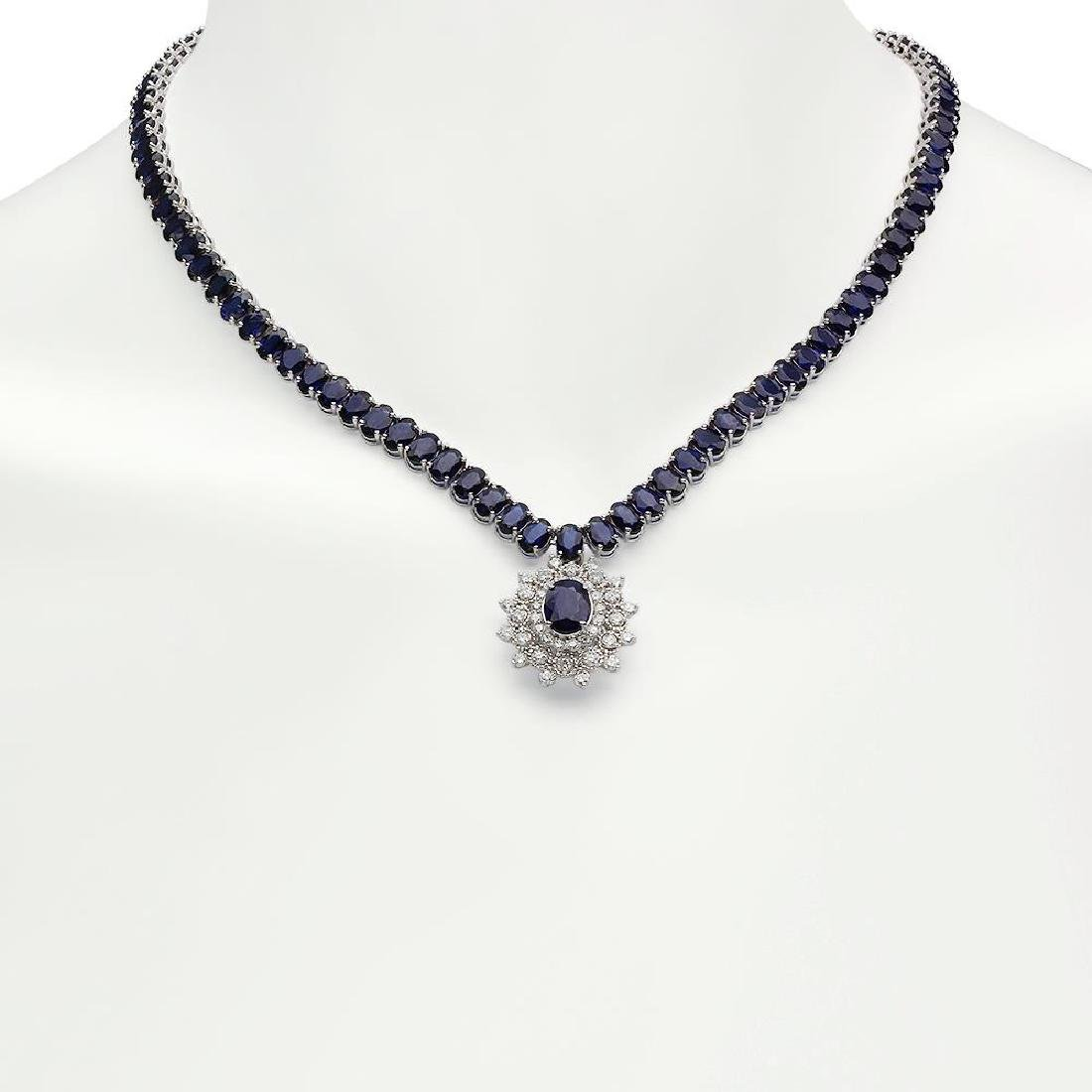 14K Gold 54.01ct Sapphire 2.67ct Diamond Necklace