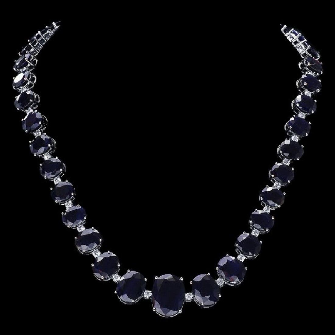 14k Gold 143ct Sapphire 4ct Diamond Necklace