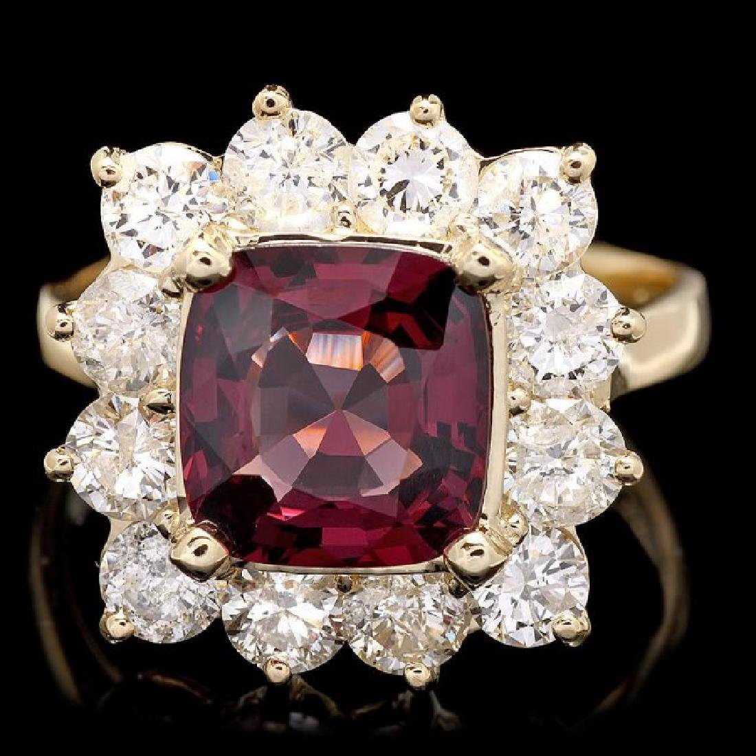 14k Yellow Gold 2.40ct Spinel 2.00ct Diamond Ring