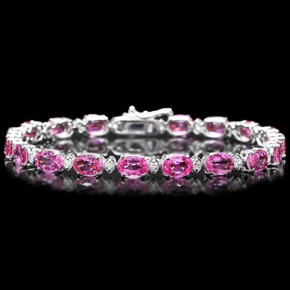 14k Gold 16ct Sapphire 0.70ct Diamond Bracelet