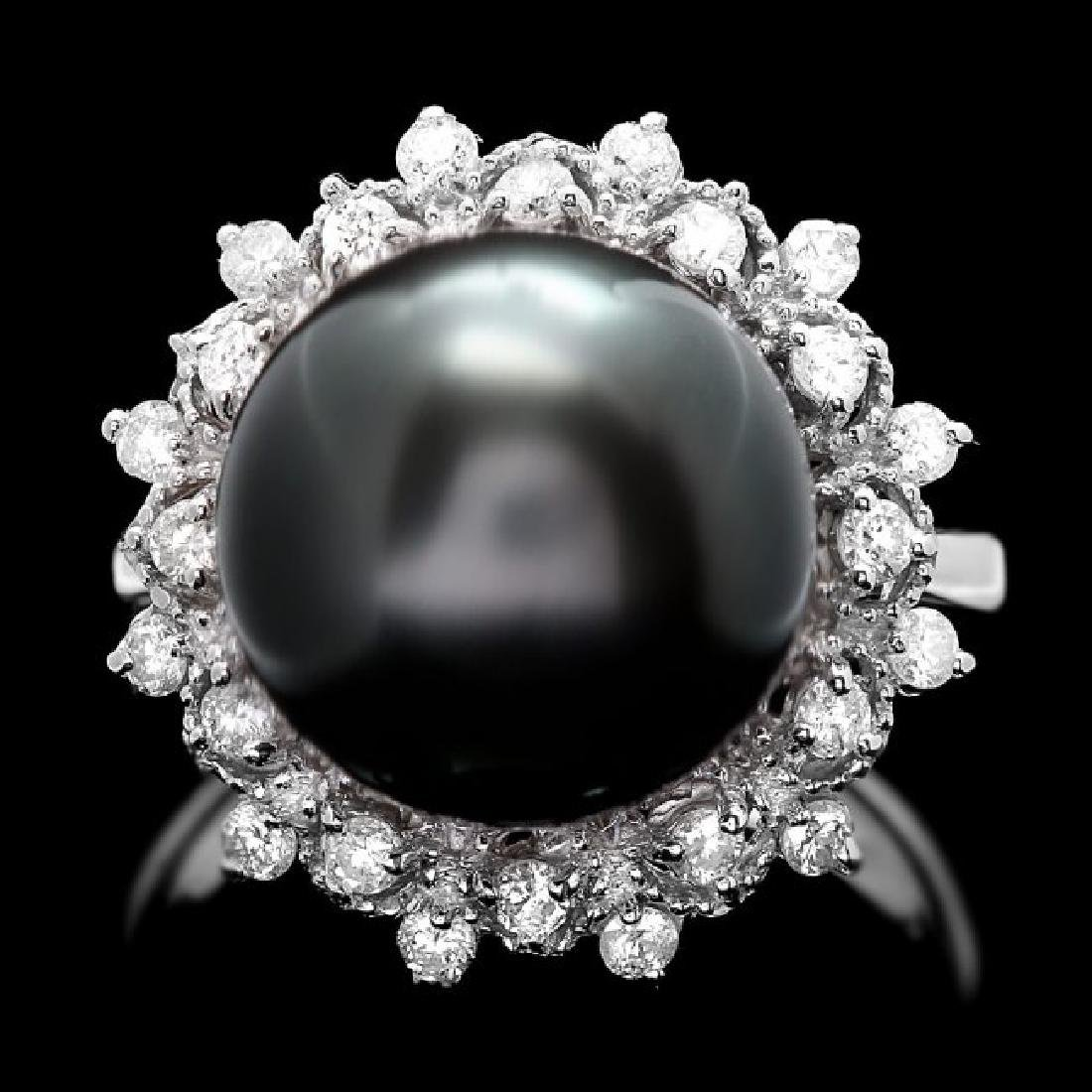 14k White Gold 12mm Pearl 0.50ct Diamond Ring